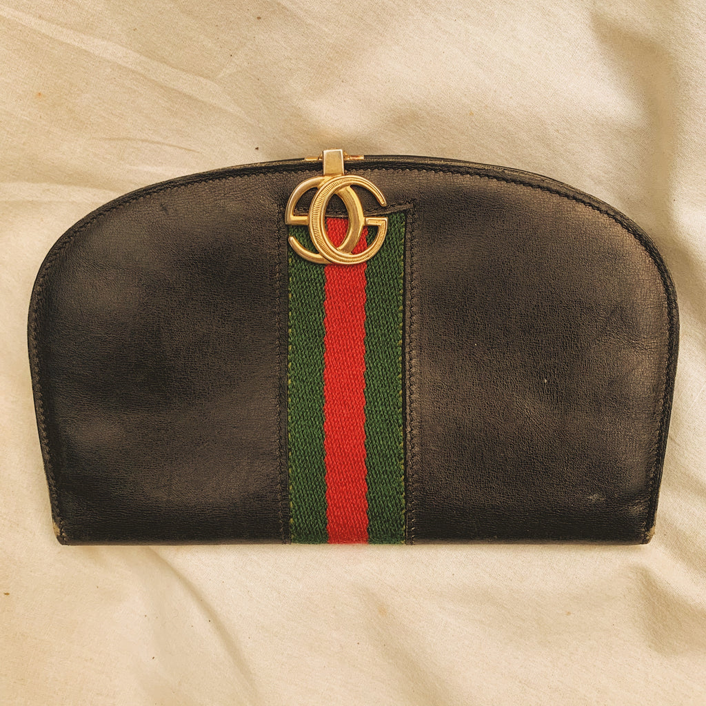 Gucci 'Sherry' Line Black Leather Wallet - Shop Vanilla Vintage