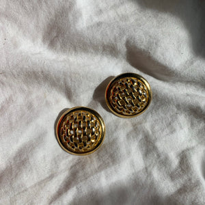 Vintage Gold Lattice Weave Round Earrings