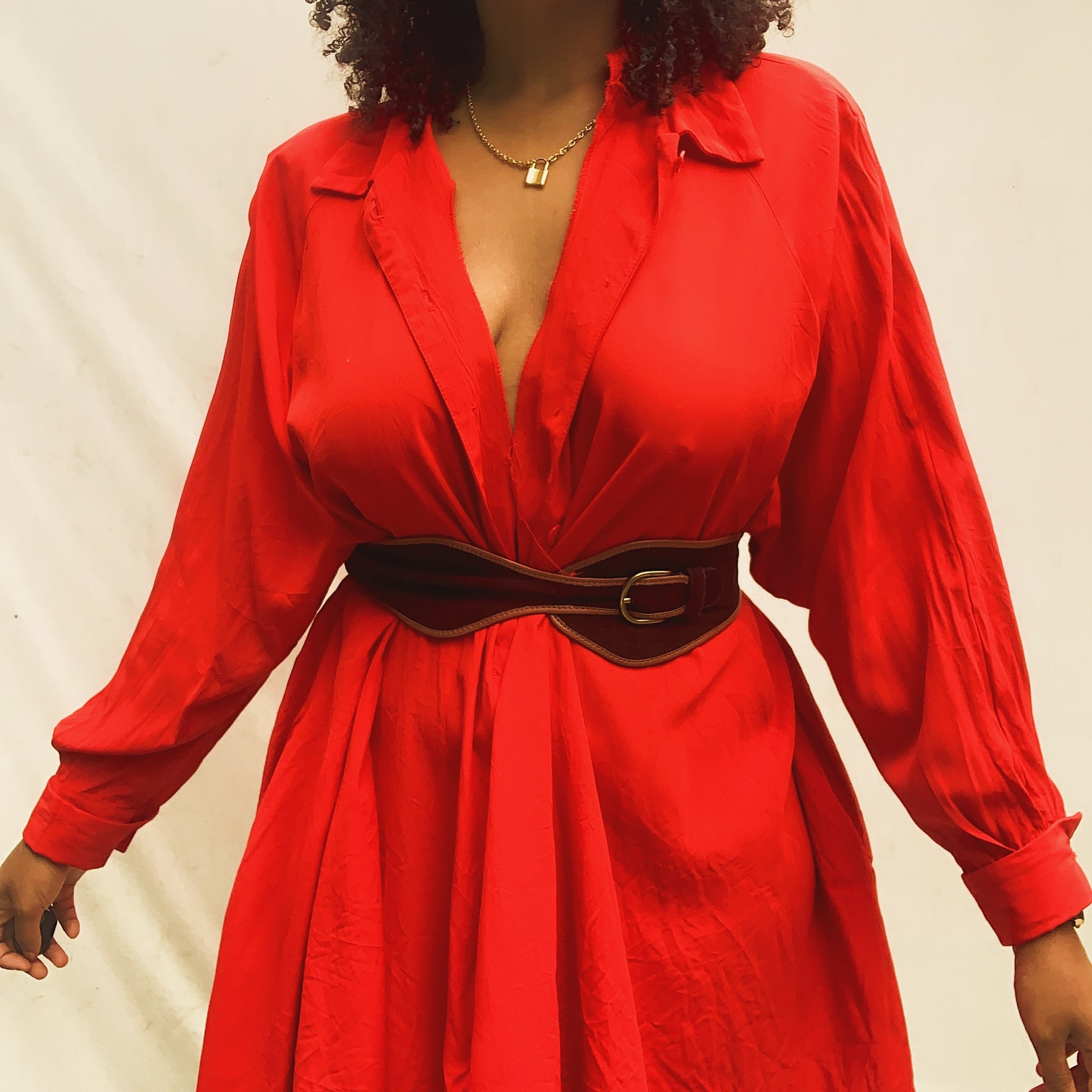 'Alia' Red Button Down Balloon Sleeve Dress (L-XXXL)