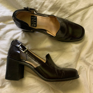 'Delia' Chunky Brown Leather Heeled Loafers w/ Cut-Outs (Sz. 7)