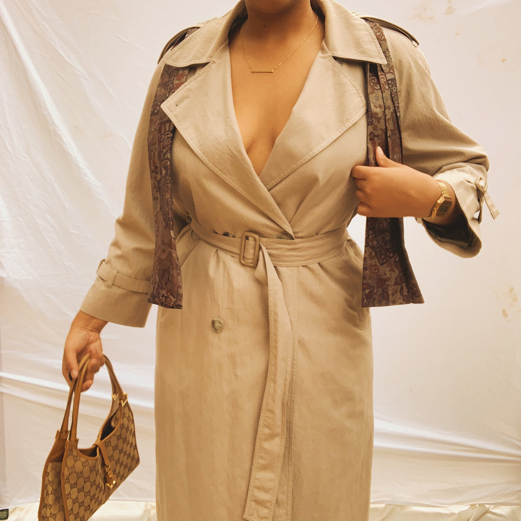 'Charli' Taupe London Fog Trench Coat W/ Scarf (L/XL)