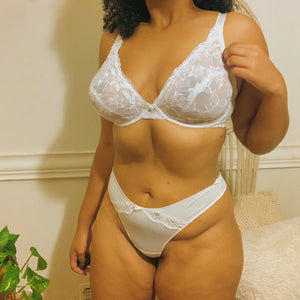 'Emily' Sheer White Floral Lace White Brassiere (40DD)