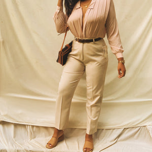 'Blake' High-Waisted Beige Trousers W/ Faux Leather Belt (L/XL) - Shop Vanilla Vintage