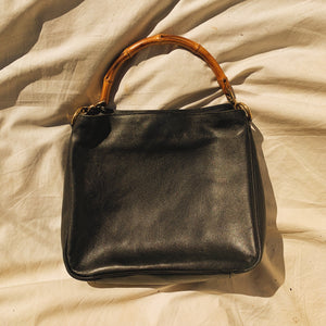 Authentic Vintage Gucci Bamboo Top Handle Black Leather Bag