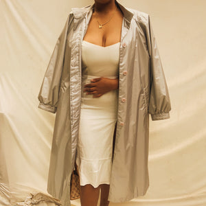'Theresa' Pastel Blue Maxi Belted Trench Coat (L/XL)