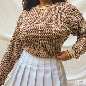 'Amiee' Oatmeal Brown Patterned Oversized Sweater (One Size)