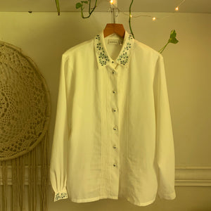 'Lulina' White Floral Embroidered Blouse (M-XL) - Shop Vanilla Vintage