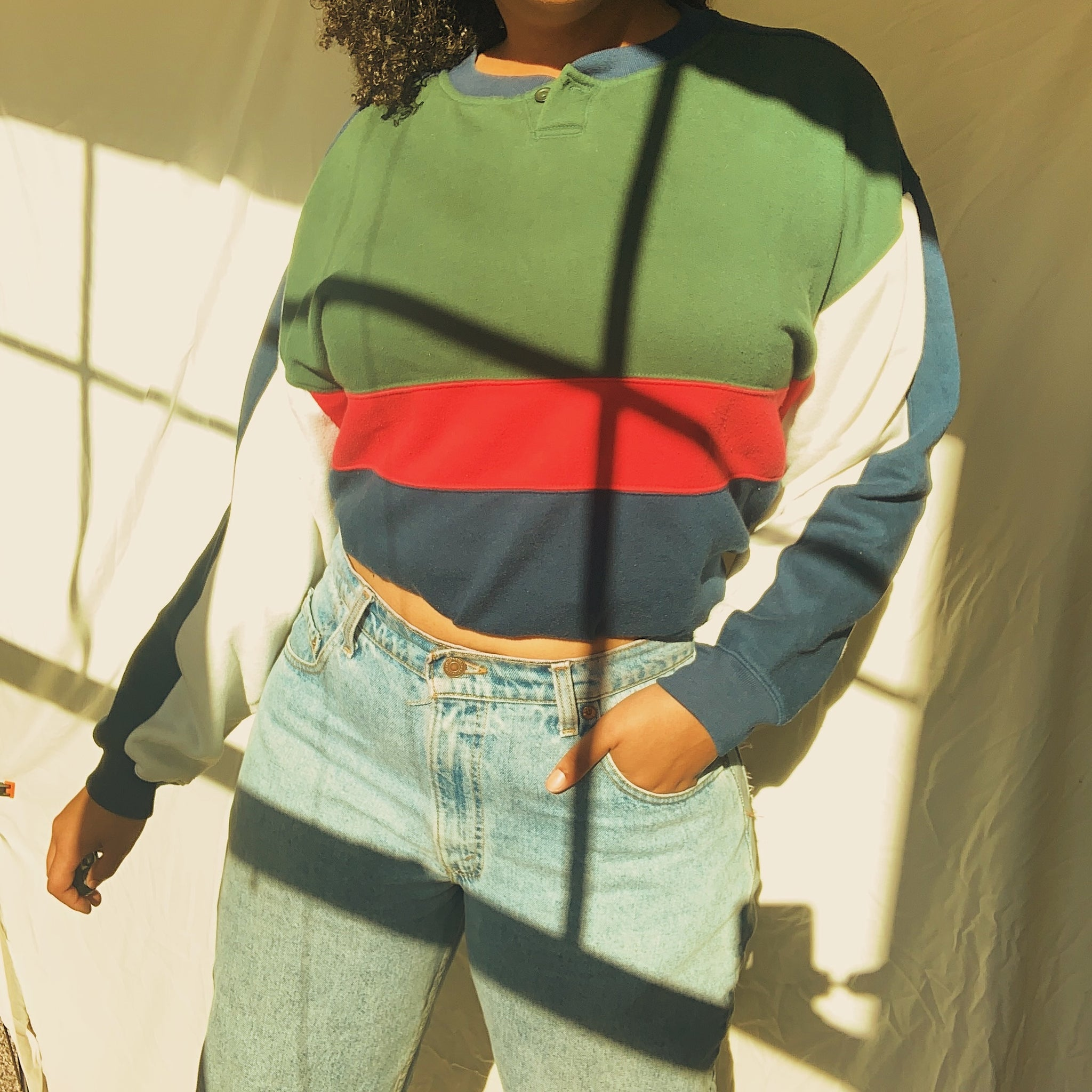 'Jamie' Vintage Color Block Sweatshirt (S-XXL)