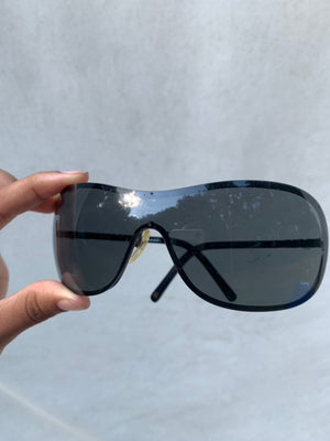 Authentic Black Chanel 4170-H Shield Sunglasses - Shop Vanilla Vintage