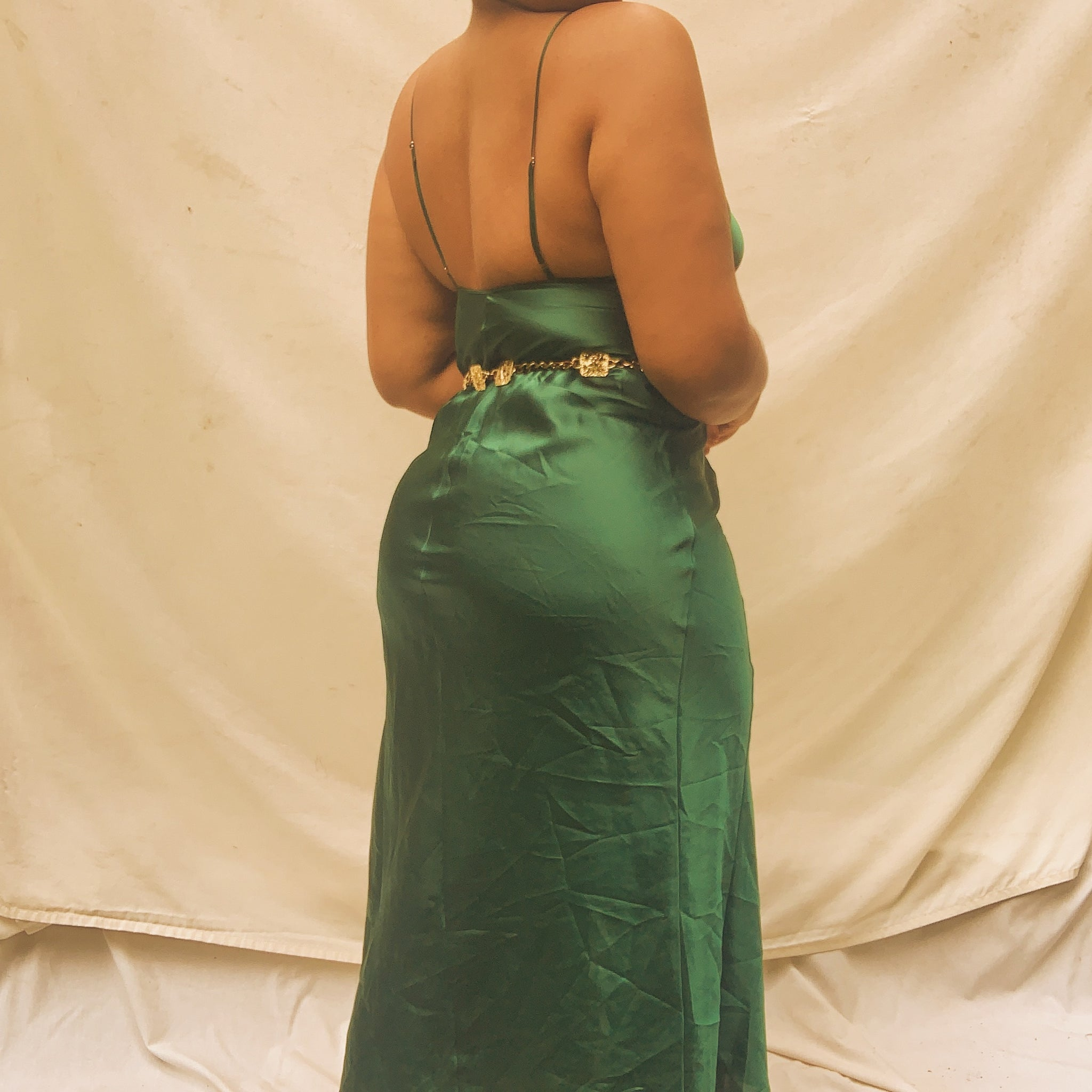 'Elvira' Green Silky Midi Slip Dress With Thigh Slit (M/L) - Shop Vanilla Vintage