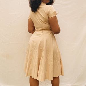 Whitney Neutral Wrap Dress (L/XL) - Shop Vanilla Vintage