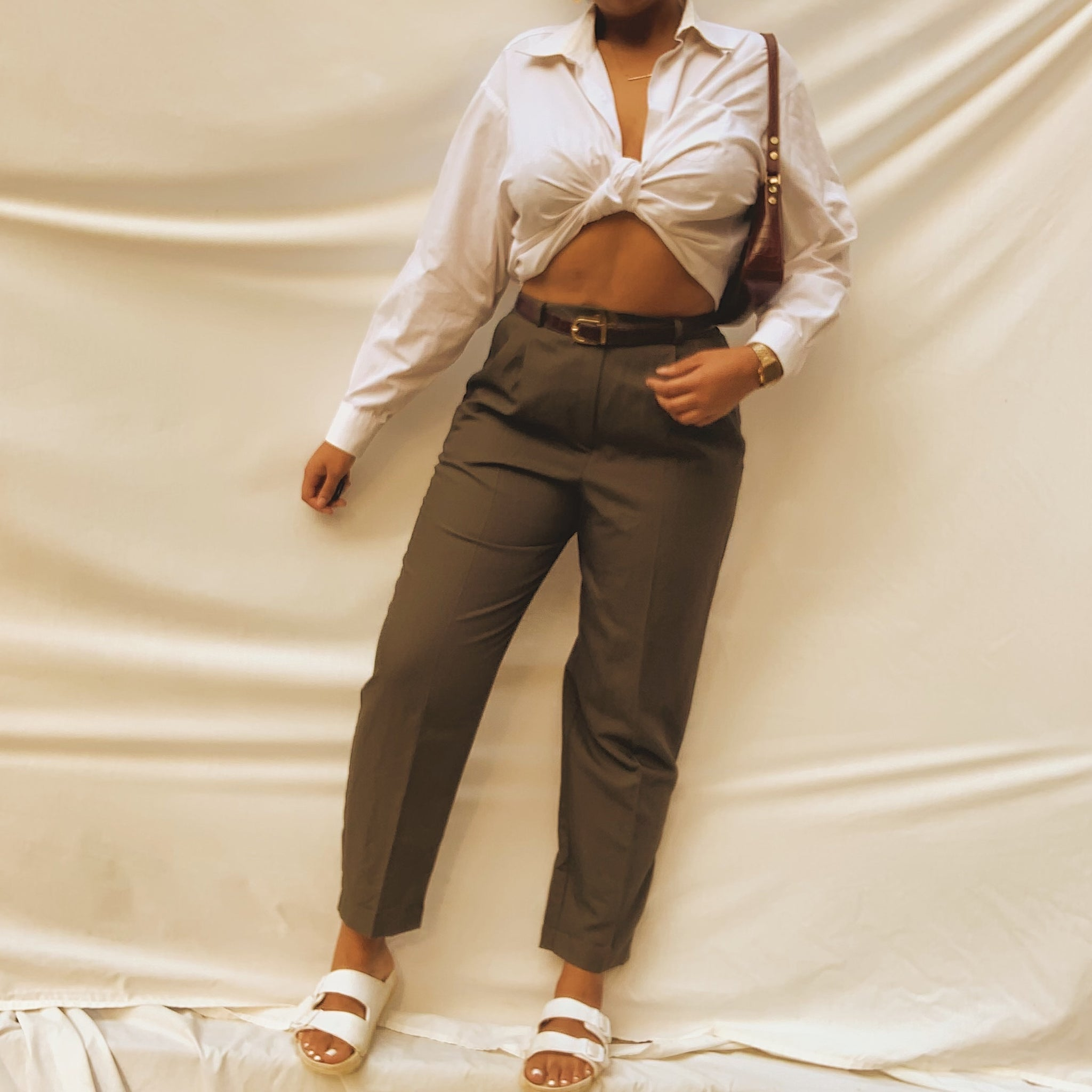 'Kameron' Olive Green High-waisted Pant (L/XL/12)