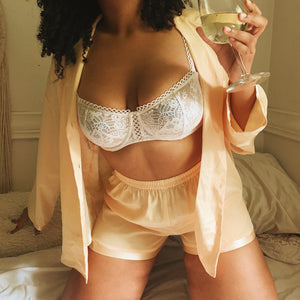 'Eve' Silky Pajama Top and Short Set (L/XL) - Shop Vanilla Vintage