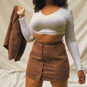 'Chloe' Corduroy Vest + Skirt Co-Ord Set (L/XL) - Shop Vanilla Vintage