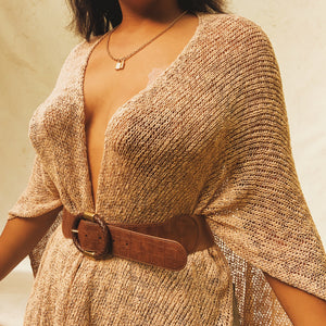 'Colbie' Open Knit Fringe Cape (One Size) - Shop Vanilla Vintage