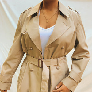 'Leona' Classic Taupe Double-Breasted Belted Trench Coat (L/XL/XXL)