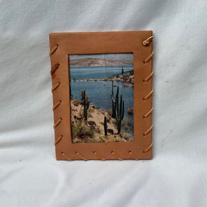 Wood + Suede Laced Picture Frame - Shop Vanilla Vintage