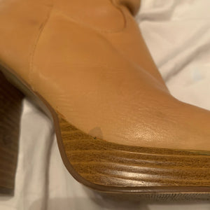 70s-Inspired Genuine Leather Camel Platform Boots (Sz. 9)