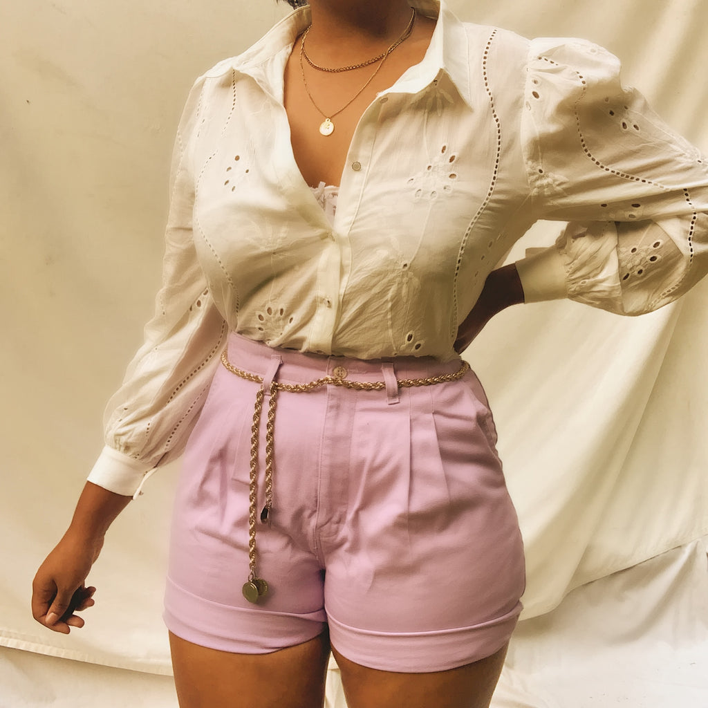 'Piper' Lilac High-Waisted Shorts (M-XL) - Shop Vanilla Vintage