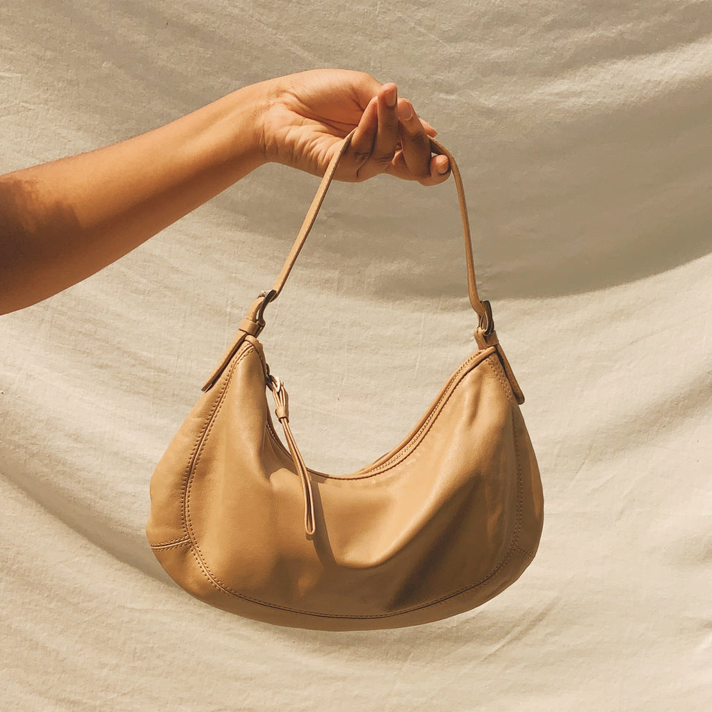 Vintage Leather Beige Baguette Bag - Shop Vanilla Vintage