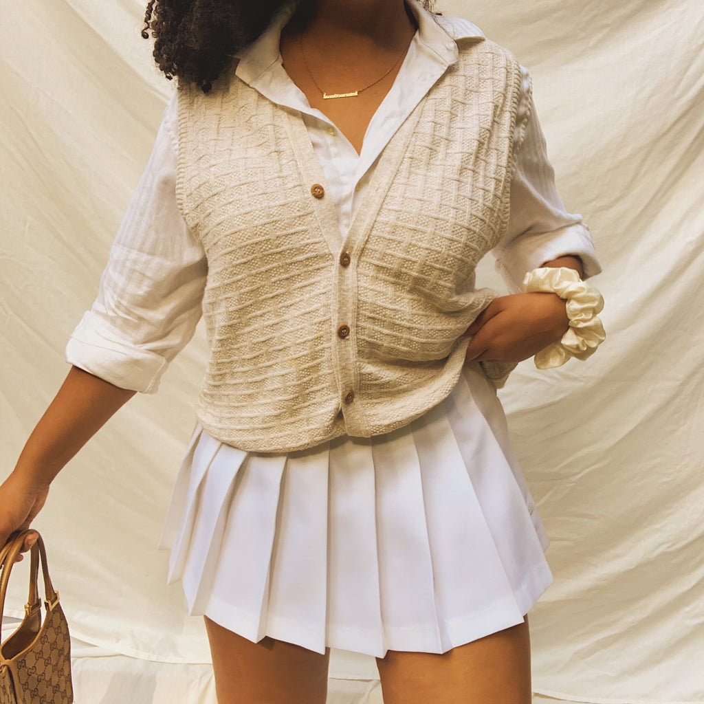 'Nathalie' Oversized Oatmeal Knit Sweater Vest (One Size)