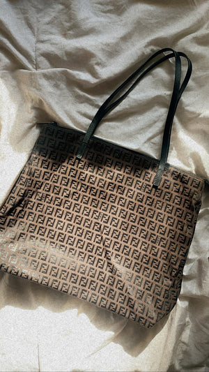 Authentic Fendi Zucca Print Square Shopper Tote