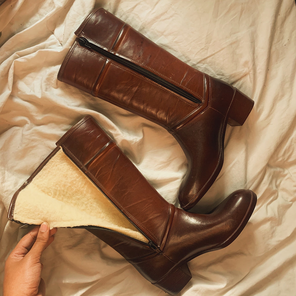 'Lindsay' Vintage Sherpa Lined Brown Riding Boots (Sz. 7)