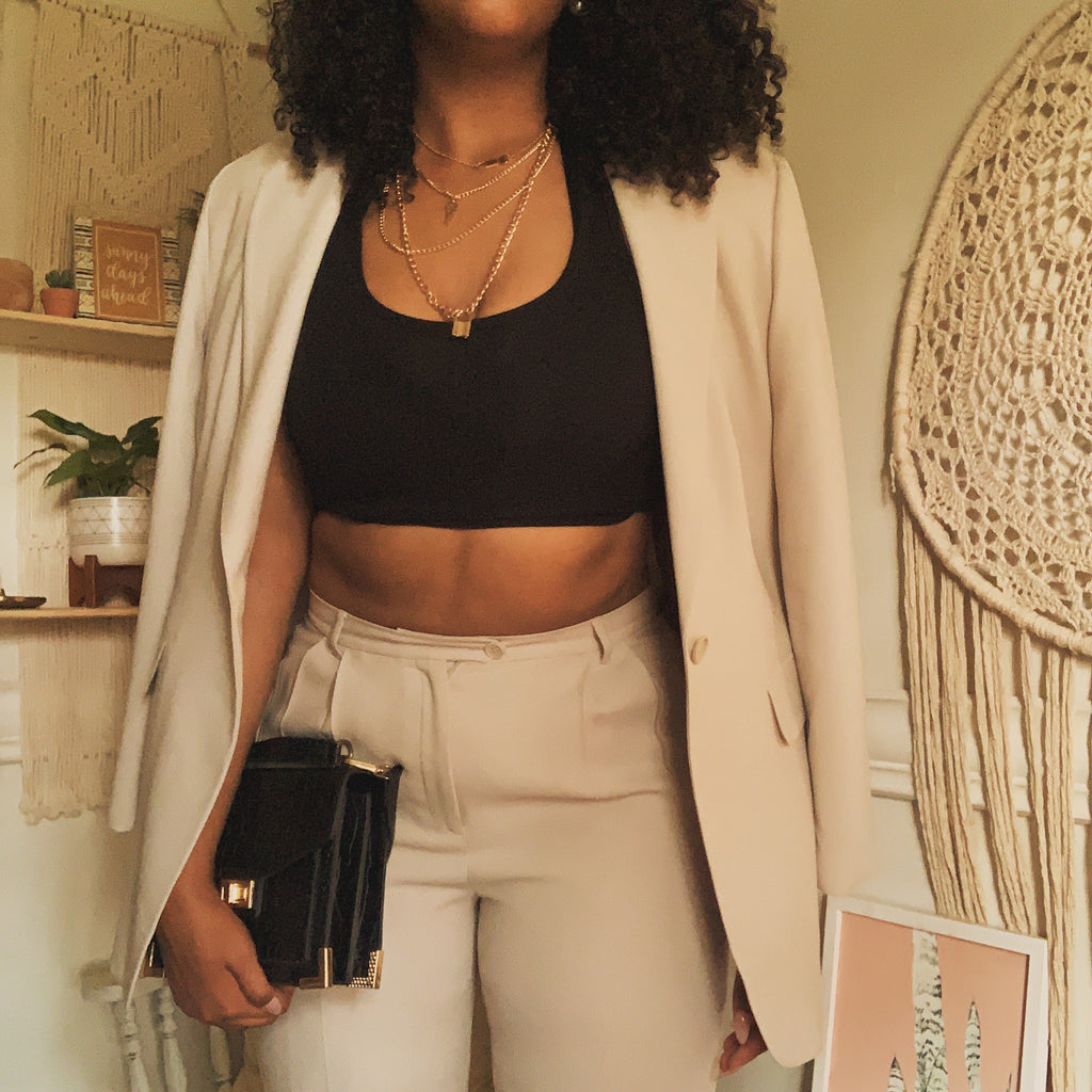 'Renata' Beige High-Waisted 90s Suit (L/XL) - Shop Vanilla Vintage