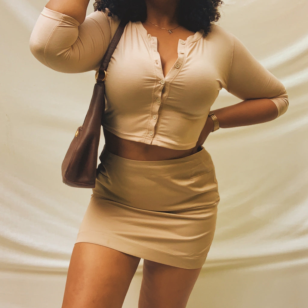 'Cameron' Brown Skirt (L/XL) - Shop Vanilla Vintage