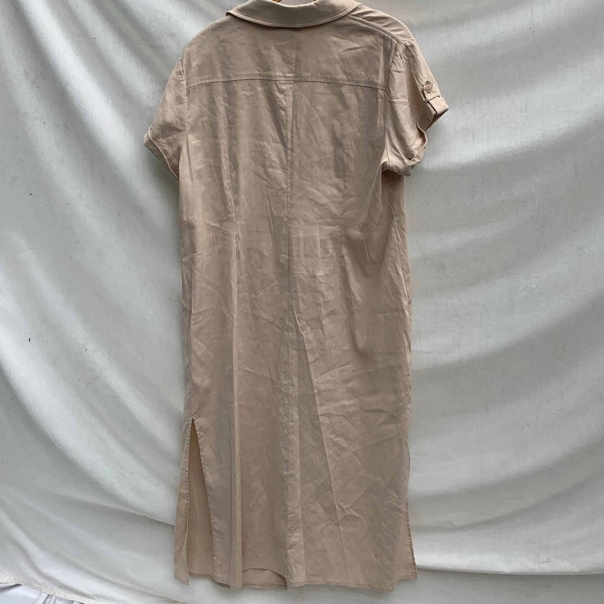 'Reeva' Khaki Linen Button-Thru Slit Midi Dress (M-XXL)