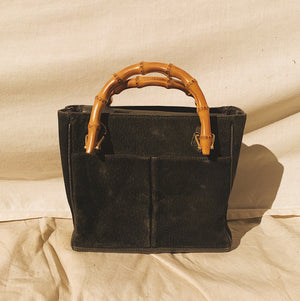 Mini Vintage Gucci Bamboo Black Suede Bag