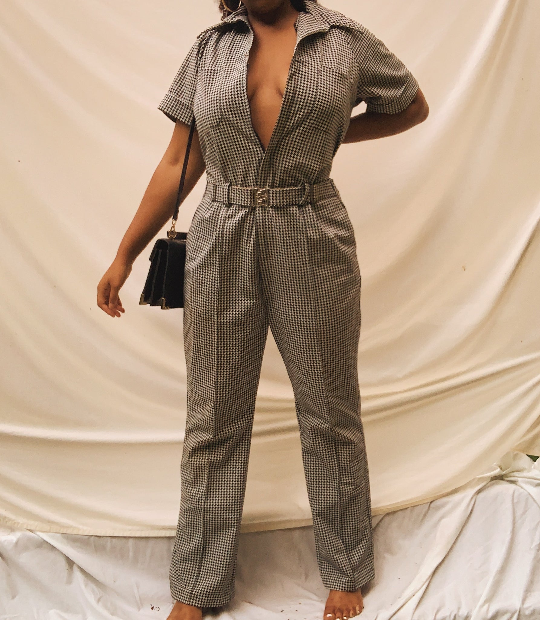 'Sherri' Black & White Belted Jumpsuit (L-XXL) - Shop Vanilla Vintage