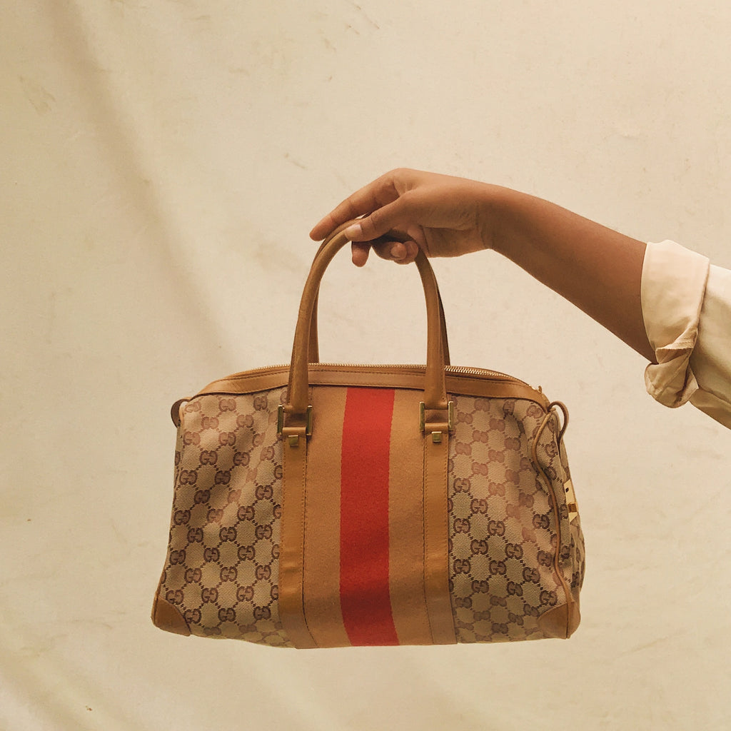 Gucci Mini Boston GG Canvas Striped Bag - Shop Vanilla Vintage