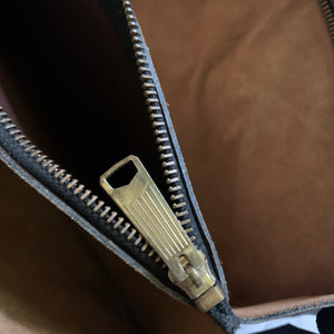 'Eris' Brown Leather + Suede Rectangular Bag - Shop Vanilla Vintage