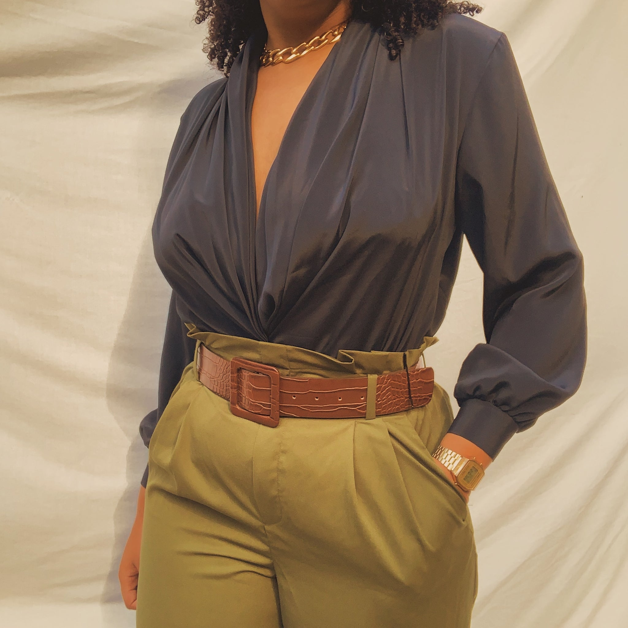 'Miranda' Silky Ebony Draped Blouse (L/XL)