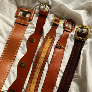 Vintage Brown Leather Gold Emblem Belt (S/M)