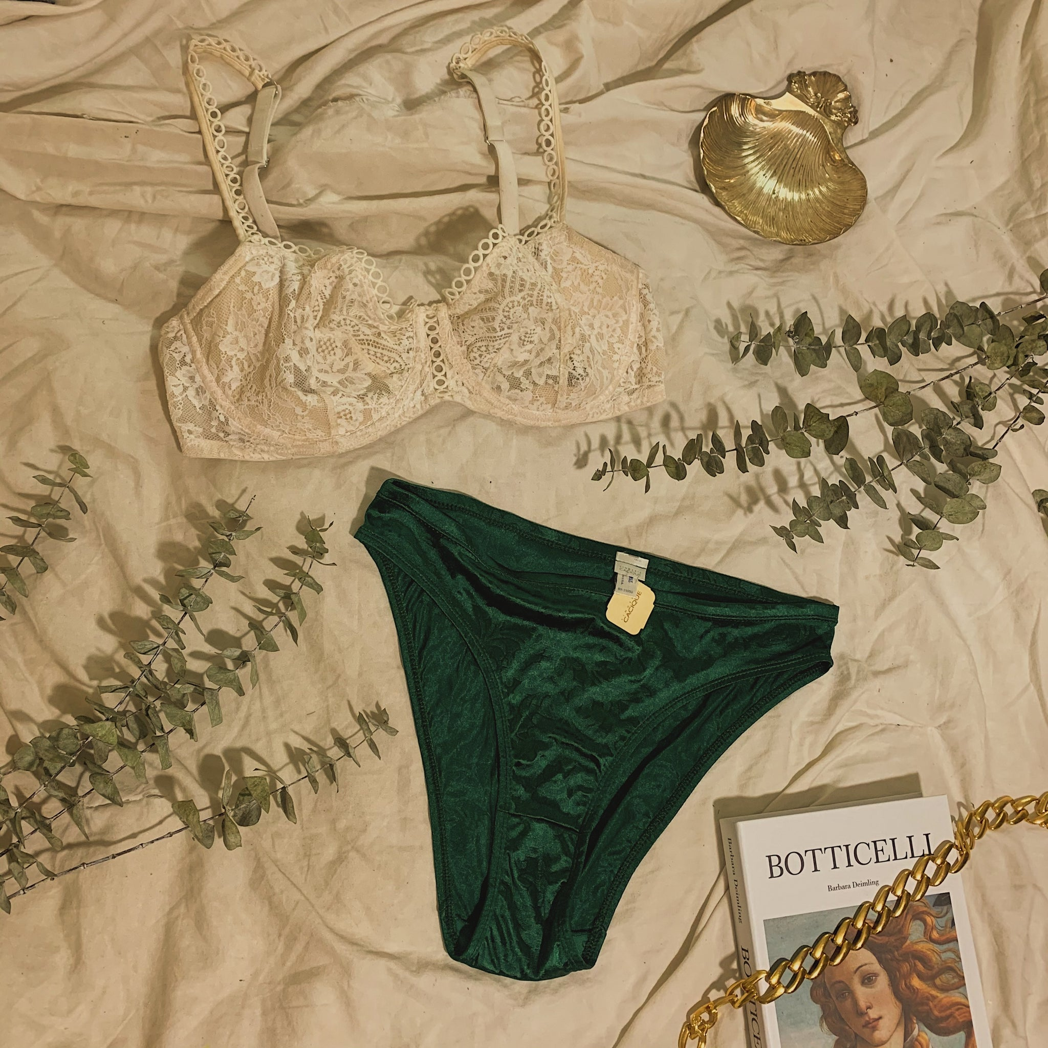 'Arian' Floral Satin Emerald Green Panties (M/L) (New W/ Tags)