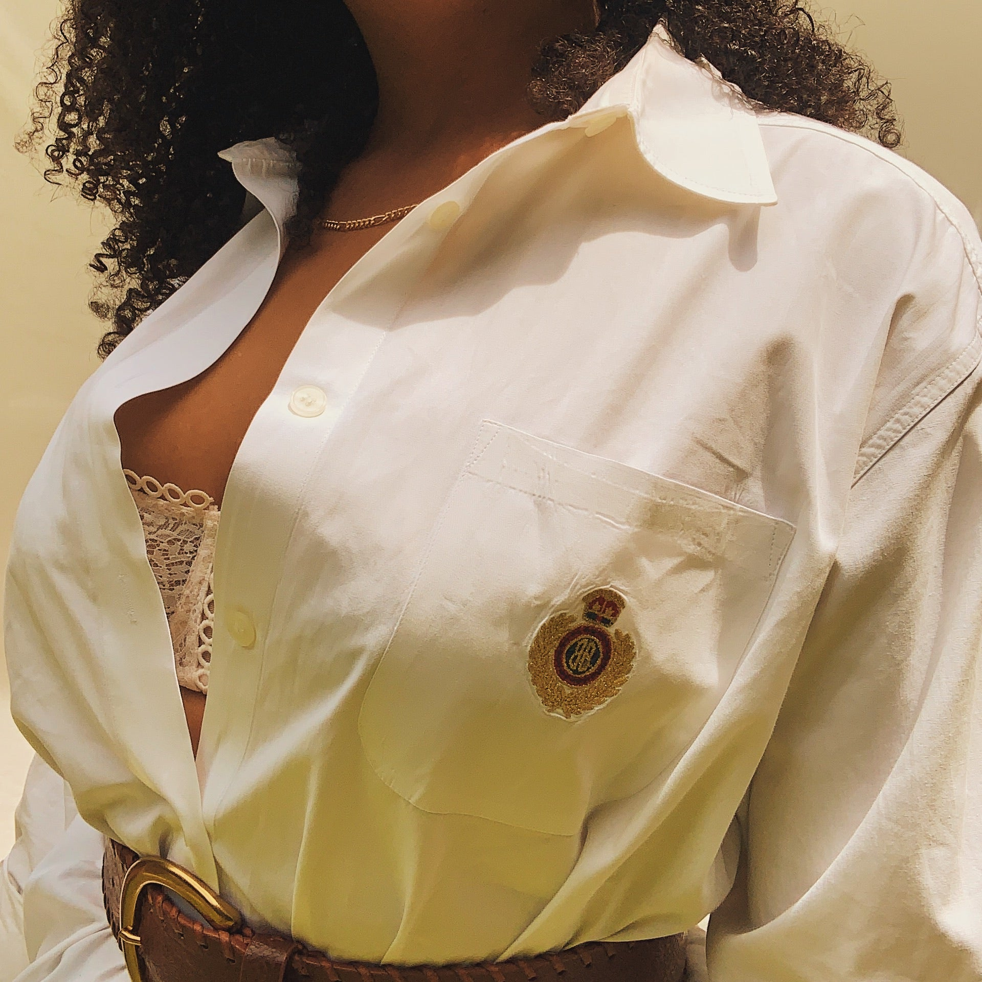 'Lauren' Perfectly Preppy Oversized White Button-down (One Size) - Shop Vanilla Vintage