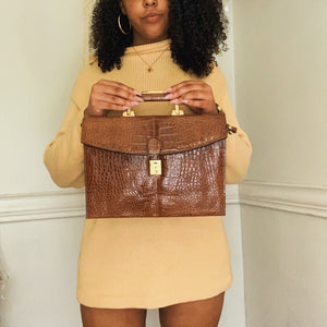 Tabitha Croc Embossed Satchel Bag - Shop Vanilla Vintage