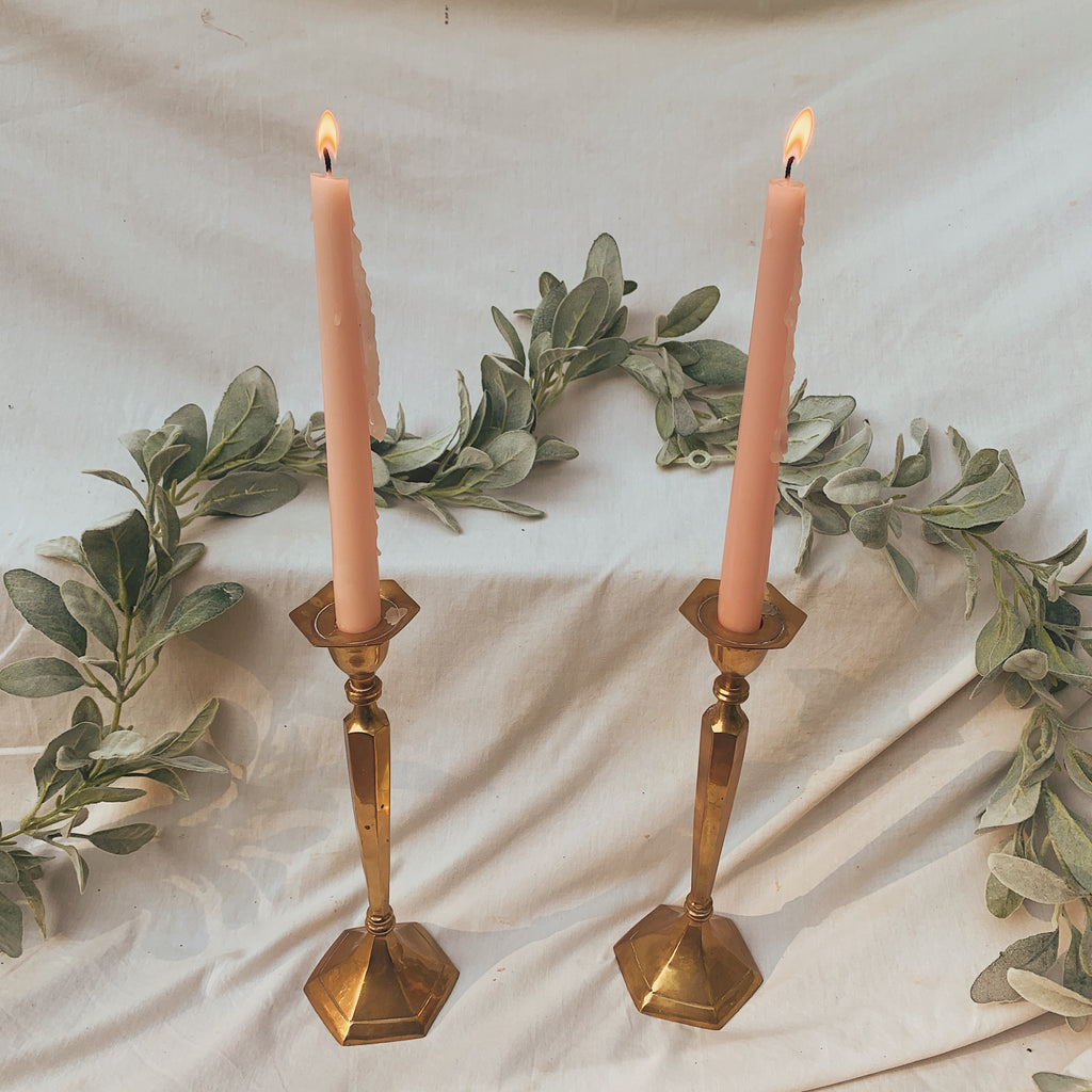 Bronze-Plated Metal Twin Candlesticks - Shop Vanilla Vintage