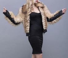 Load image into Gallery viewer, Knitted Asiatic Raccoon Fur Bomber Jacket (Champagne) - fetefurcoats