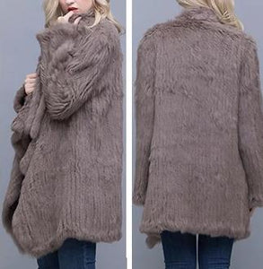 Knitted Rabbit Fur Casual Oversized Cardigan (Varied Colors) - fetefurcoats