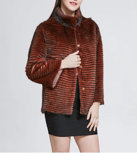 Knitted Mink Fur High Street Jacket - Coral Red - fetefurcoats