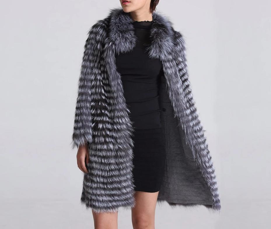 Knitted Silver Fox Fur Overcoat (Varied Colors) - fetefurcoats