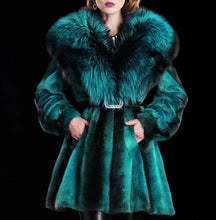 Load image into Gallery viewer, Classic Mink Fur Swing Coat with Fox Fur Collar (Emerald or Ruby) - fetefurcoats
