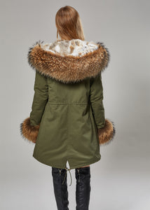 Cotton Twill Parka with Rabbit Fur Lining, Raccoon Fur Collar & Cuffs - fetefurcoats
