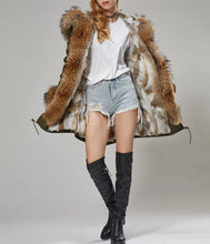 Load image into Gallery viewer, Cotton Twill Parka with Rabbit Fur Lining, Raccoon Fur Collar & Cuffs - fetefurcoats