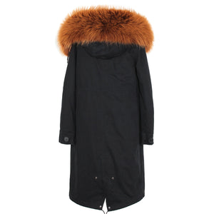 Parka w/ Brown Fox Fur Lining and Raccoon Fur Hood - Black