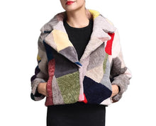 Load image into Gallery viewer, Patchwork Sheep Shearing Jacket - Multicolor - fetefurcoats