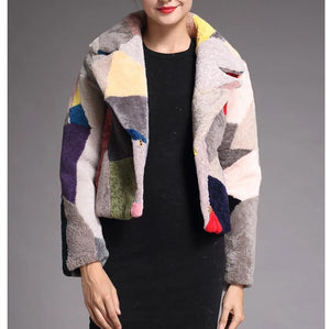 Patchwork Sheep Shearing Jacket - Multicolor - fetefurcoats